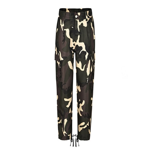 Women Camo Pants Fashion Ladies Camouflage Cargo Trousers Casual Military Army Green Trousers Drawstring High Waist Harem Pants-geekbuyig