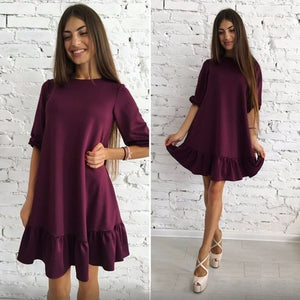 Women's Solid Colour Three Quarter Sleeves Ruffles Dress 2018 Autumn Lantern Sleeve Loose Casual O-neck Mini Dresses-geekbuyig