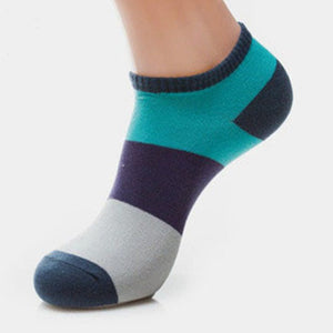 Men Splicing Color Summer Socks Combed Cotton Breathable Sweat Absorption Elastic Ankle Adults Socks-geekbuyig