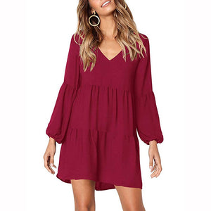 Draped 2019 Spring Summer Dress Fashion Women Casual Loose Elegance Dress Long Sleeve V-Neck Sexy Black Wine Red Dress Vestidos-geekbuyig