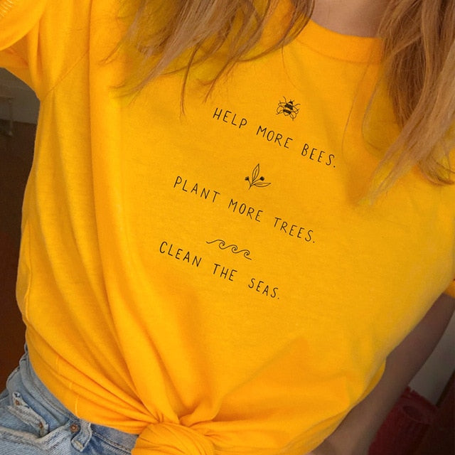 Help More Bees T Shirt Women Plant More Trees Graphic Tees Women Save The Seas Graphic Tees Women Shirts 2019 Drop Shipping-geekbuyig