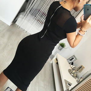 Hot Autumn Women Casual Dress 2018 Sexy O-neck Fashion Mesh Back Zipper Dresses Short Regular Sleeved Sheath Women's Dress-geekbuyig