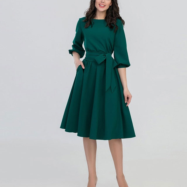 HOT Women Fashion Vintage Dress Green O-Neck Elegant A Line Dresses Puff Sleeve Vestidos Autumn Summer Dress No Pocket-geekbuyig