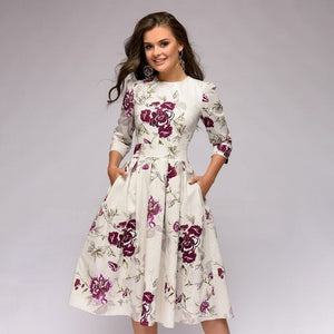 Women Elegent A-line Dress 2018 Vintage printing party vestidos Three Quarter Sleeve women Autumn Dress Knee-Length Dress-geekbuyig