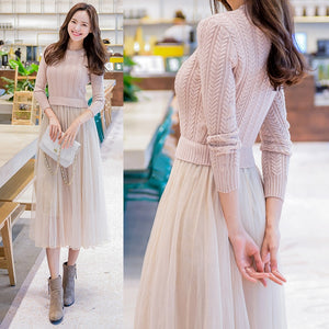 2018 Elegant Knitted Sweater Dress Autumn Winter Dress Long Sleeve Sweater Mesh Patchwork Women Dress Office Casual Long Dress-geekbuyig