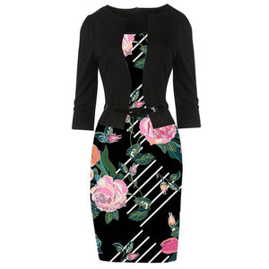2018 Women Dress Autumn Pencil Bodycon Dresses Floral Print Office Patchwork Vestidos Elegant Fake Two Piece Dress Plus Size 5XL-geekbuyig