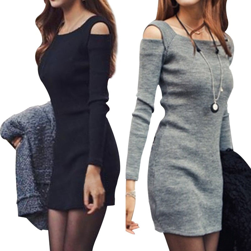 2018 Hot Sale Sexy Women Long Sleeve Bodycon Sweater Knitted Dress Female Pullover Autumn Winter Dresses Vestidos-geekbuyig