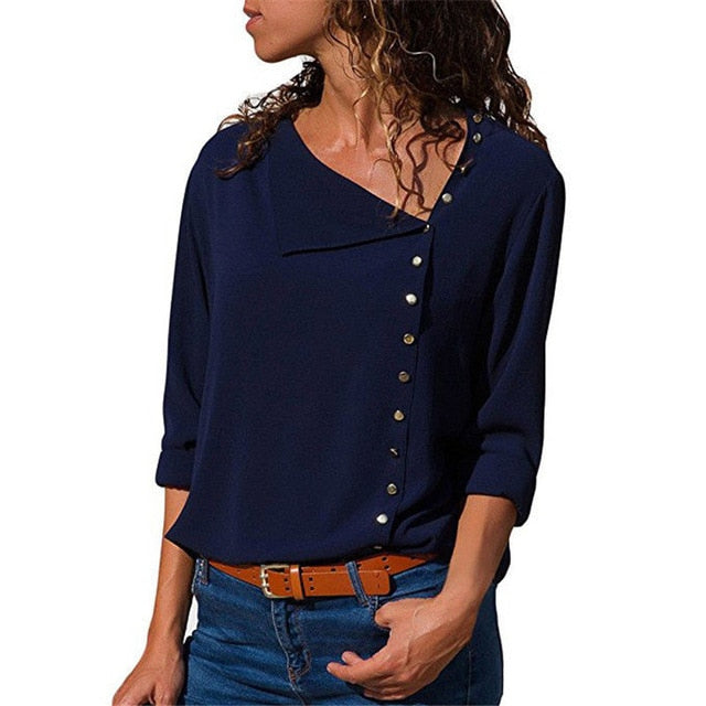 Chiffon Blouse 2018 Fashion Long Sleeve Women Blouses and Tops Skew Collar Solid Office Shirt Casual Tops Blusas Chemise Femme-geekbuyig