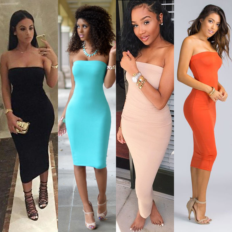 2018 Top Fashion Womens Summer Dresses Strapless Female Clothes Sleeveless Beach Dress Bandeau Bodycon Tube Solid Dress Womens-geekbuyig
