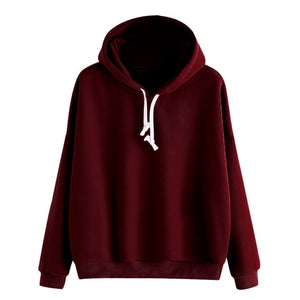 2018 Female sweatshirt Women Ladies Solid Long Sleeve Casual Hooded Sweatshirt Pullover hoodies Moletom Feminino hot sale-geekbuyig
