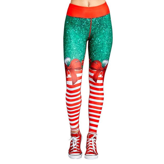 Christmas Trousers For Women Lady Casual Elasticity Skinny Leggins Mujer High Waist Workout Printing Stretchy Pants leggings-geekbuyig