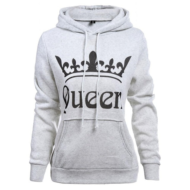 2018 Autumn Winter King Queen Couple Hoodies Letter Crown Printed Hooded Sweatshirt Lovers Unisex Tracksuits Women Men Pullovers-geekbuyig