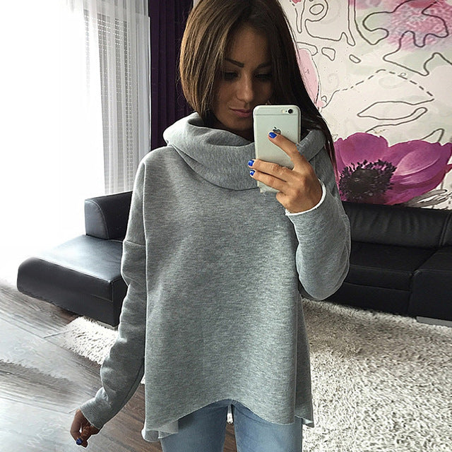 Women Loose Christmas Clothes 2018 Winter Autumn Hoodies Scarf Collar Long Sleeve Fashion Casual Sweatshirts Rough Pullovers-geekbuyig