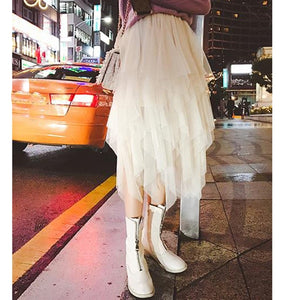 2019 Tulle Skirts Womens Fashion Elastic High Waist Mesh Tutu Skirt Pleated Long Skirts Midi Skirt Saias Faldas Jupe Femme-geekbuyig