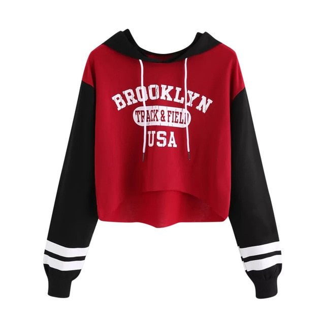 plus size women sweatshirts crop top outwear for harajuku hoodie s Long Sleeve Letter Pullover Hoodie Tops Blouse PAUGT9-geekbuyig