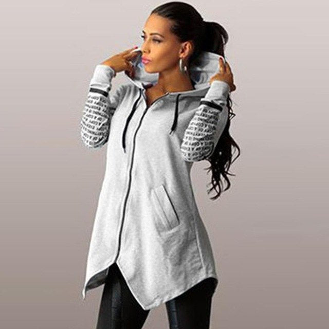 Hem Up Hoodie Zip Women Letter Fashion Sweatshirt Asymmetrical Hooded Print-geekbuyig
