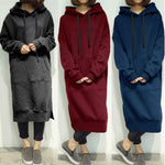 Women's Casual Loose Long Hoodies Sweatshirt Outerwear Jacket Tunic Coat Dress-geekbuyig