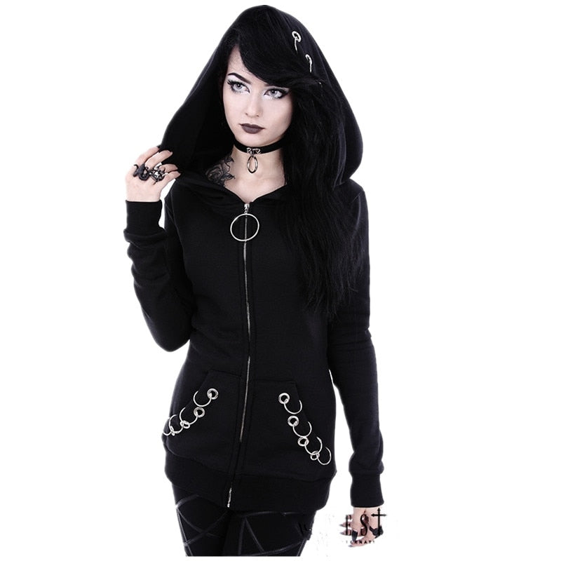 Women Punk Hoodie Sweatshirt 2018 Autumn Long Sleeve Iron Ring Hooded Zipper Jackets Casual Plus Size Black Tops Female Clothes-geekbuyig