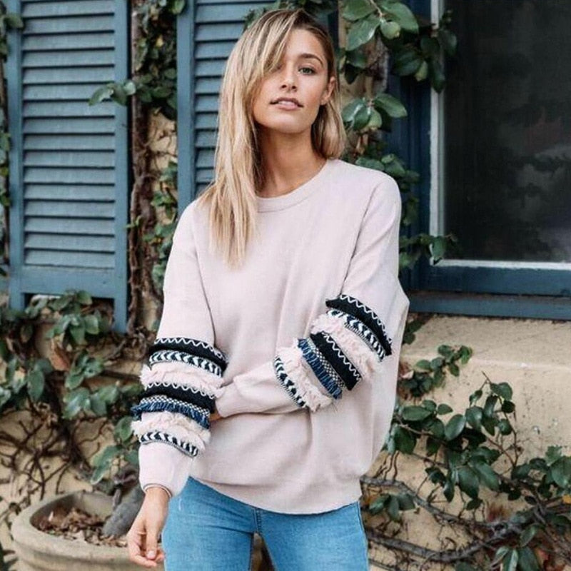 Autumn 2018 Fashion Streetwear Long Sleeve O-Neck Women Sweatshirts Loose Pink Tops Patchwork Pullover Sweatshirt Women Clothes-geekbuyig