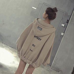 Winter Women Top Oversized Hoodies Letter Zipper Loose Hooded Sweatshirt Harajuku Jacket Autumn Fleece Warm Pullover A4-geekbuyig
