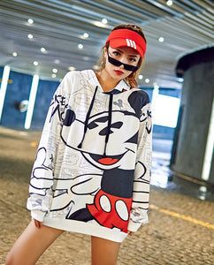 Girl Student Cartoon Dog Printed Hoodies Punk Design Long Hooded Sweatshirts Plus Size Loose Casual Pullovers-geekbuyig