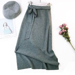 Sherhure 2018 Women Knitting Skirts High Waist Women Long Skirt Saias Autumn Split Women Sexy Skirt Jupe Femme Faldas-geekbuyig