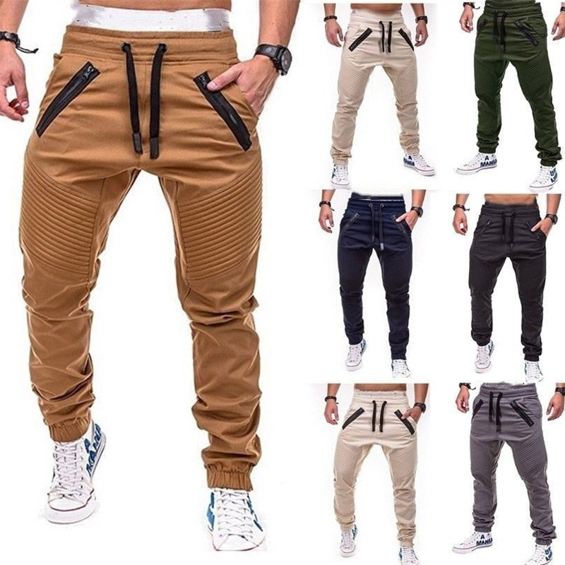 Mens Long Casual Elastic Pants Slim Fit Trousers Pencil Jogger Sweatpants Men Long pants-geekbuyig