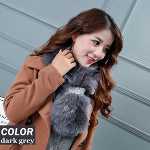 5 colors Faux Fur Collar Winter Solid Scarf Women Faux Knitted Rex Fox Fur Scarves Fur Neckerchief Winter Long Wraps S037-geekbuyig