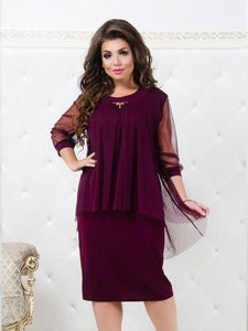 Ukraine Autumn Dress Plus Size Women Clothing Mesh Winter Dress Elegant Office Dress 5XL 6XL Big Women Christmas Dress Female-geekbuyig