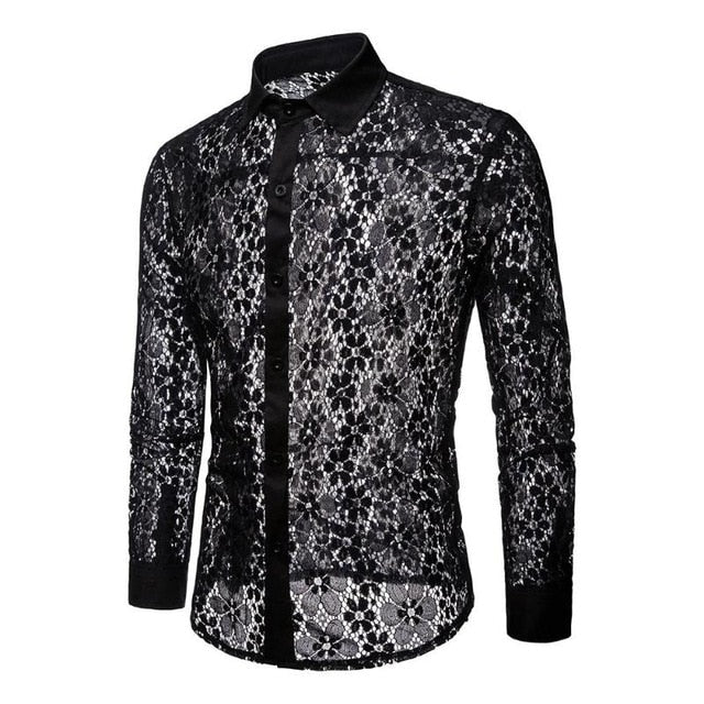 2018 Transparent Men Lace Shirt Sexy Short Sleeve See Through Lace Shirt Burn Out Mesh Party Prom Marriage Event Shirt-geekbuyig