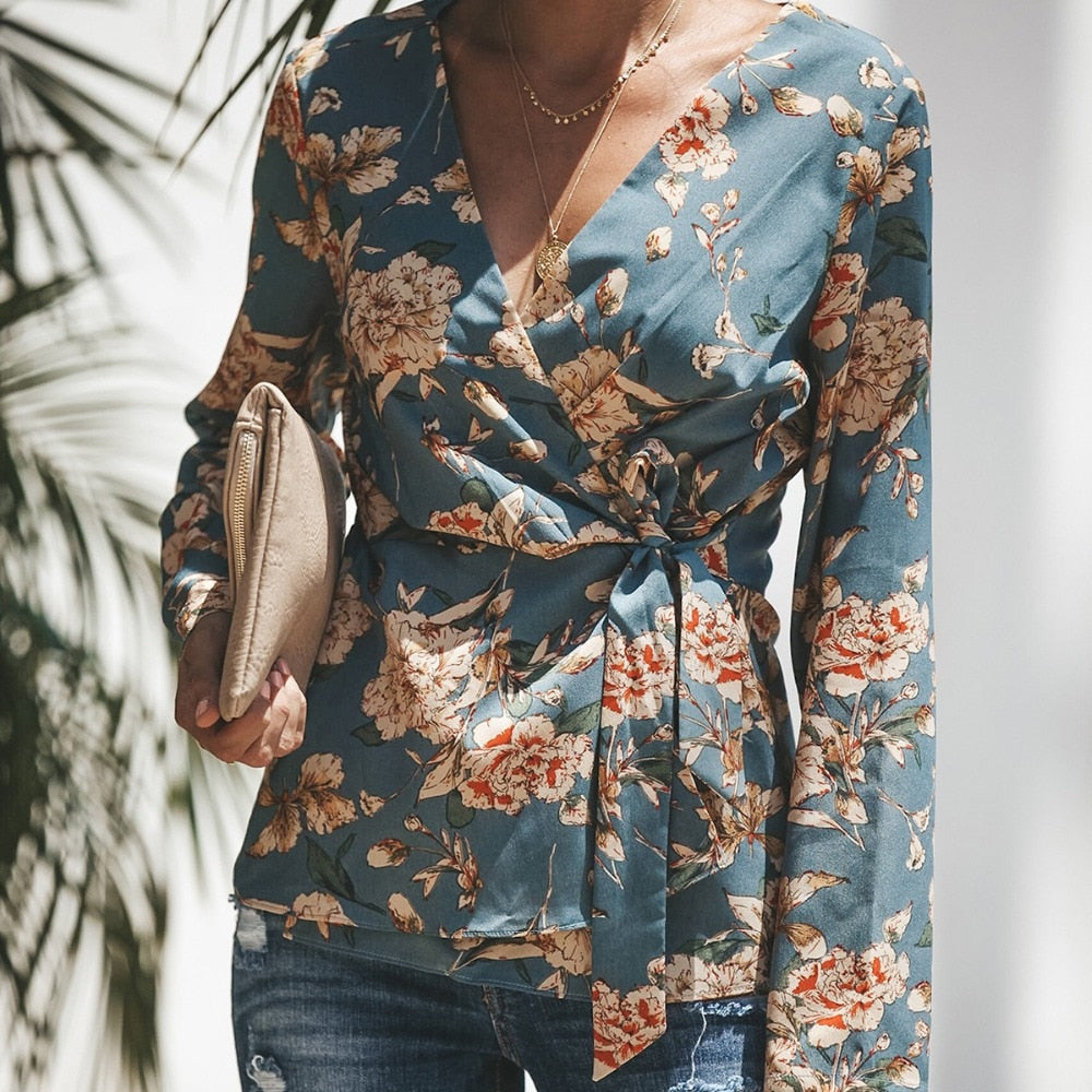 2018 Women Shirt Kimono Boho Cardigan Lace-up Vintage Floral Print Loose Shawl Cape Outwear Tops-geekbuyig