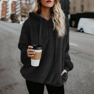 Large size Women Hoodies Winter Faux Fur Teddy Coat Female Long Sleeve zipper Sweatshirts Plus Size 4XL 5XL Pullover Clothing-geekbuyig