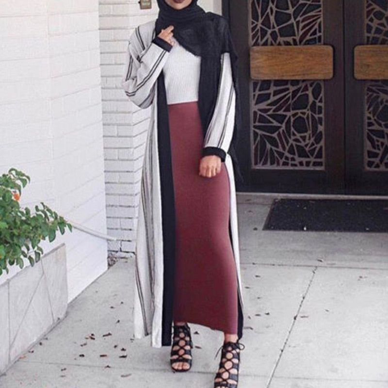 2018 bodycon solid Skirts Womens jupe longue Elegant Modest Muslim Islamic Warm Pencil skirt Long Skirt thick bandage Maxi skirt-geekbuyig