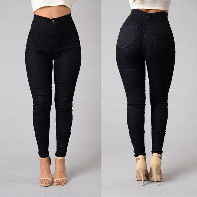 L-4XL Solid Wash Skinny Jeans Woman High Waist winter Denim Pants Plus Size Up Push Trousers Bodycon warm Pencil Pants Female-geekbuyig