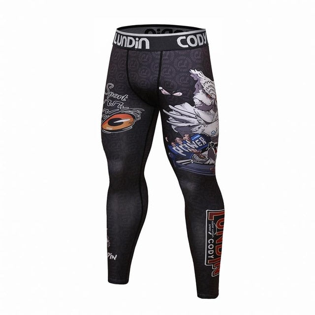 2018MMA compression tight pants 3D printing BJJ Panda men's gyms fitness jogger sports pants can be matched with the upper part-geekbuyig