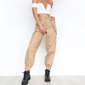 BKLD 2018 Summer Female High Waist Harem Pants Women Fashion Slim Solid Color Long Pants Hip Hop Pant Streetwear With Chains-geekbuyig