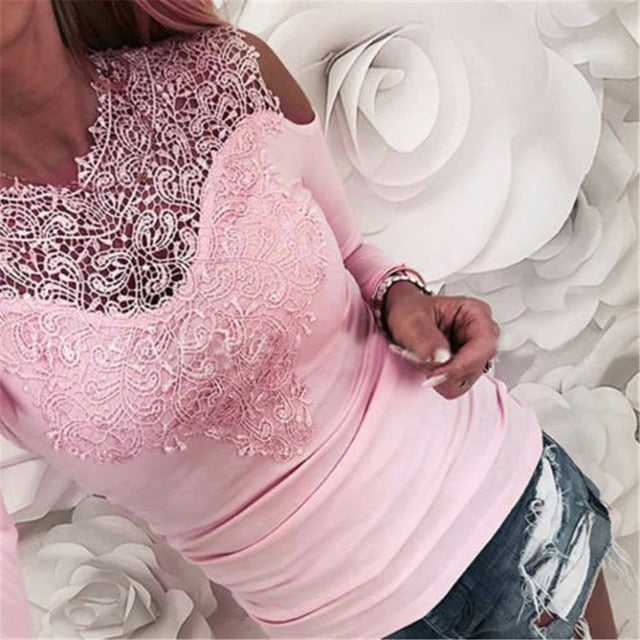 Sweet Lace T-Shirt Women Off The Shoulder Pink Slim Fit Tees Ladies O-Neck Autumn Casual Elegant Tops T-Shirts Women Clothes-geekbuyig