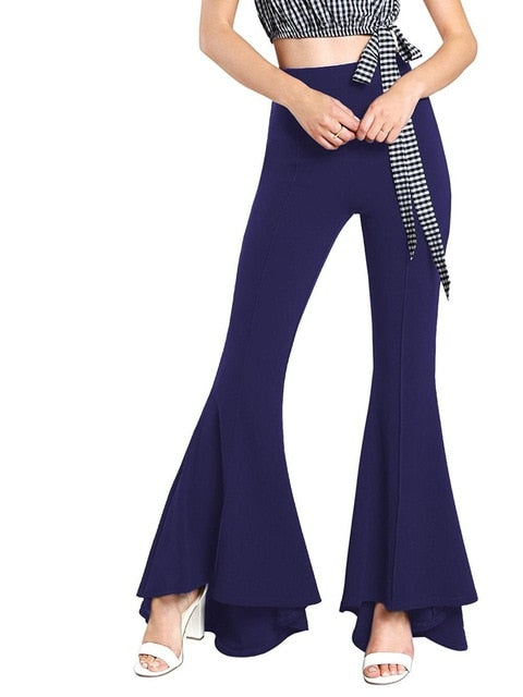 Winter 2018 Ladies Trousers Women High Waist Bell Bottom Pants Flare Pants Wide Leg Pants Big Plus Size 3XL Black White Female-geekbuyig