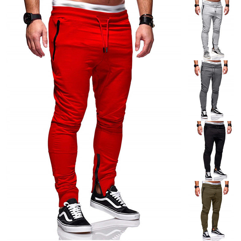 Long Casual Sports Pants Men Gym Slim Fit Trousers Running Jogger Gym Sweatpants Solid Cotton Cloth Belt Tied Adjustable Waist-geekbuyig