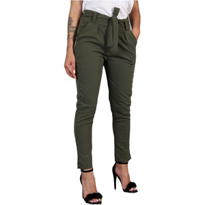 Harajuku Slim Pencil Trousers Women 2018 Spring Autumn Long Pants Khaki Green Black Casual Pants Belt Fashion Office Trousers-geekbuyig