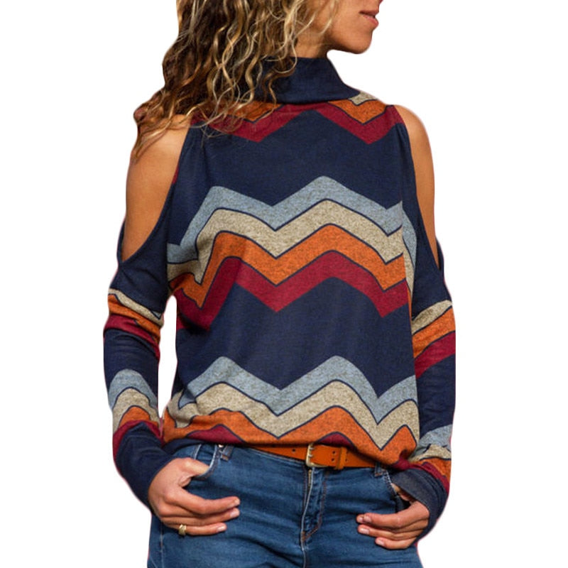 2018 Autumn Women Sweater Sexy Cold Shoulder Turtleneck Pullover Sweater Striped Print Loose Casual Sweaters Ladies Jumpers Tops-geekbuyig
