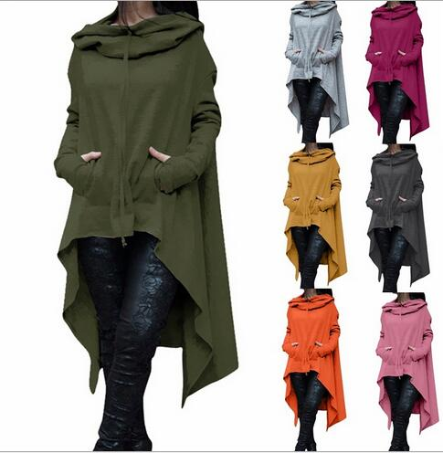 2018 European and American solid color hooded long sleeve irregular hoodies-geekbuyig