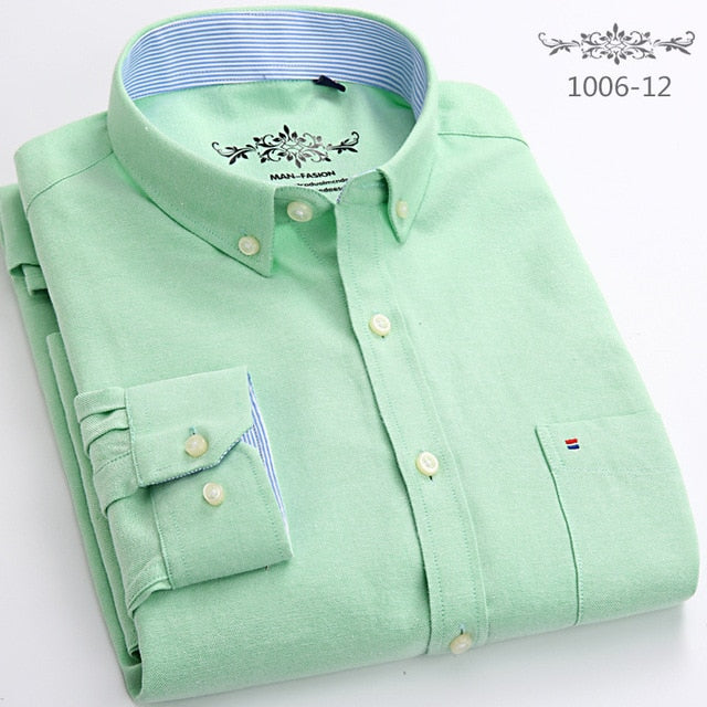 New Spring Autumn Oxford Mens shirts long sleeve Cotton casual shirt solid plaid camisa 5XL 6XL Big size camisa social masculina-geekbuyig