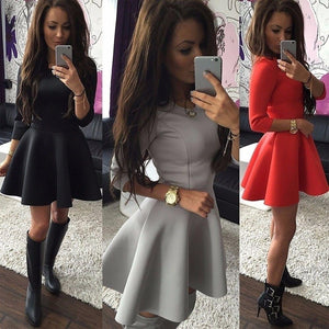 2018 Spring Autumn New Fashion Women Half-Sleeve A-Line Dress Solid Pleated Sexy Ladies Evening Party Bodycon Mini Vestidos-geekbuyig