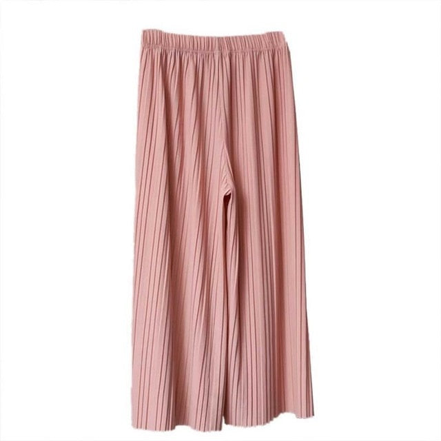 Women's High Waist Ruffled Chiffon Wide-Leg Pants Pleated Loose Flared Pants Trousers Skirt For People In 35~70 Kg
