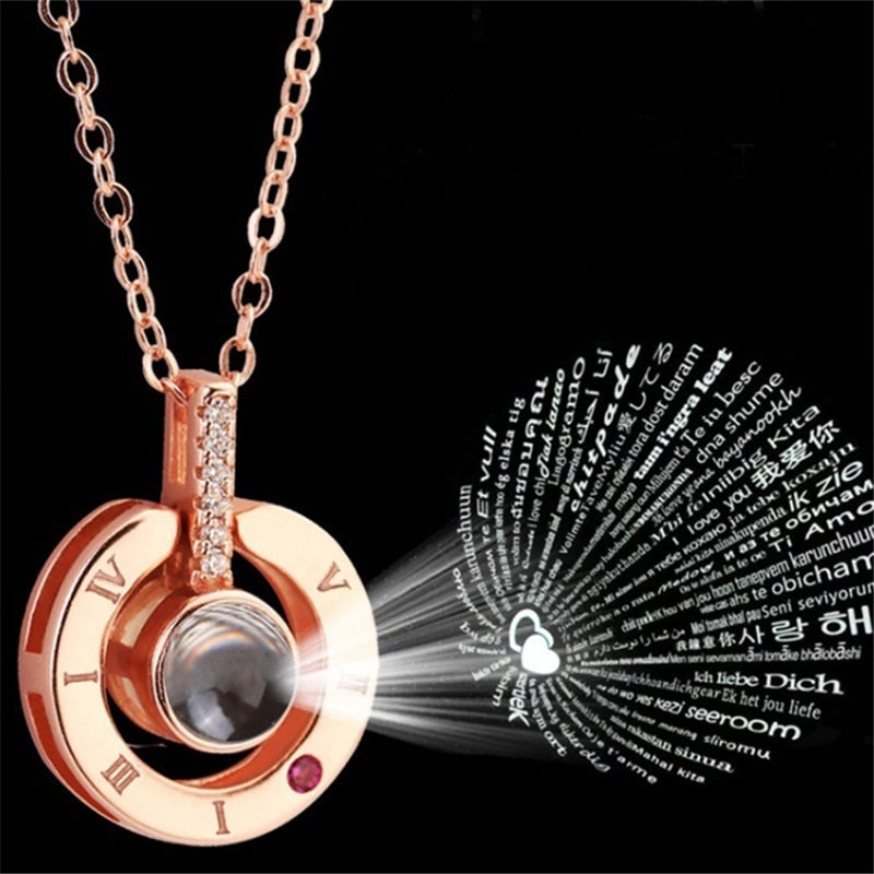 Rose Gold&Silver 100 languages I love you Projection Pendant Necklace Romantic Love Memory Wedding Necklace-geekbuyig
