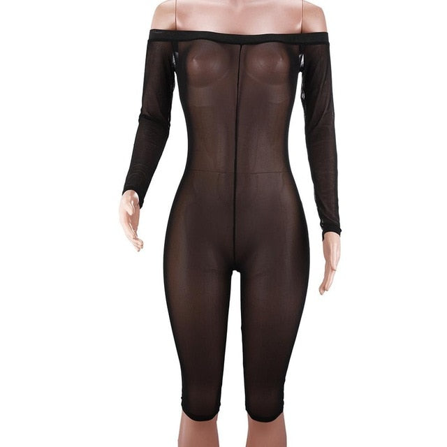 Sexy New Perspective Mesh Playsuit 2018 Autumn Off Shoulder Slash Neck One Piece See Through Jumpsuits Women Clothing Overalls-geekbuyig