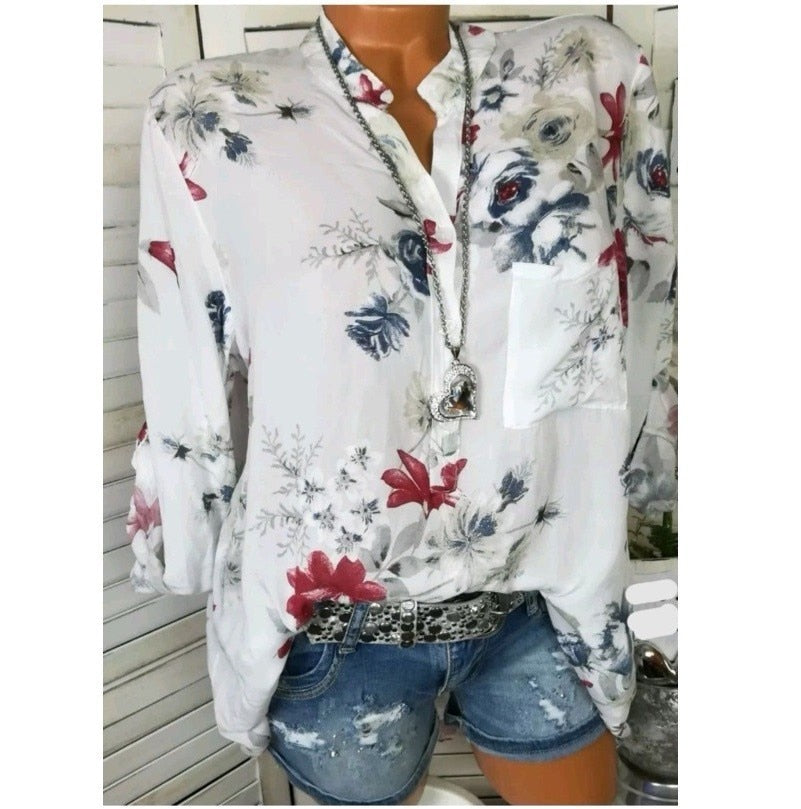 Women Shirts Autumn Casual V-Neck White Chiffon Blouse Women Top Camisa Feminina Long Sleeve Ladies Print Blouse Femme Shirt-geekbuyig