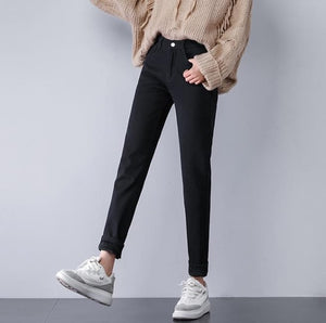 Plus Velvet Thicker Women Jeans Warm High Waist Trousers Cowboy Pants Denim Jeans Pants Winter Pencil Jeans Plus Size-geekbuyig