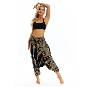 2018 Fashion Women Casual Loose pants casual print Trousers Baggy Boho Aladdin Harem Pants 8.29-geekbuyig